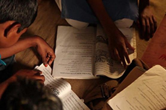 Banglesh, children studying at night
