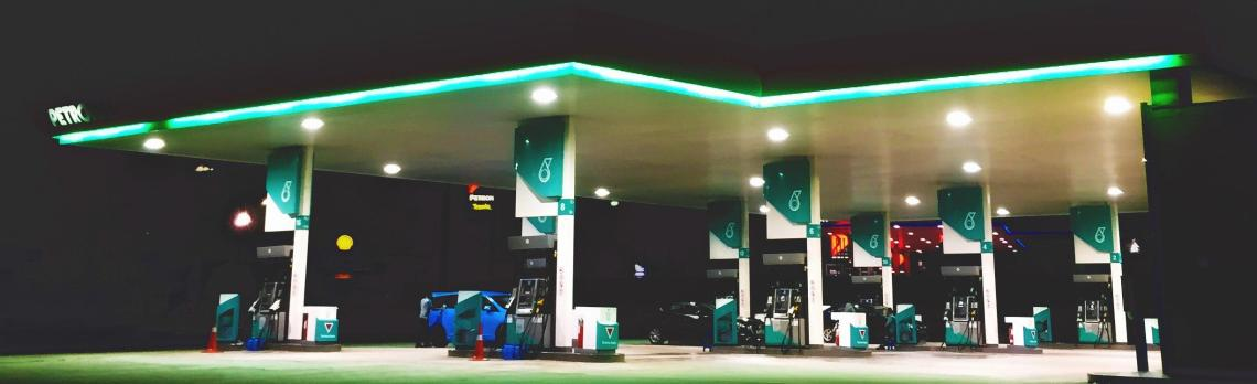 A gas station in Johor Bahru, Malaysia. Photo by Lily Lvnatikk
