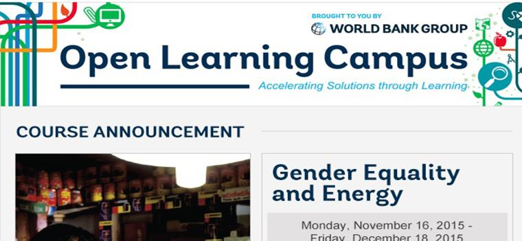 Course Announcement |Gender Equality and Energy