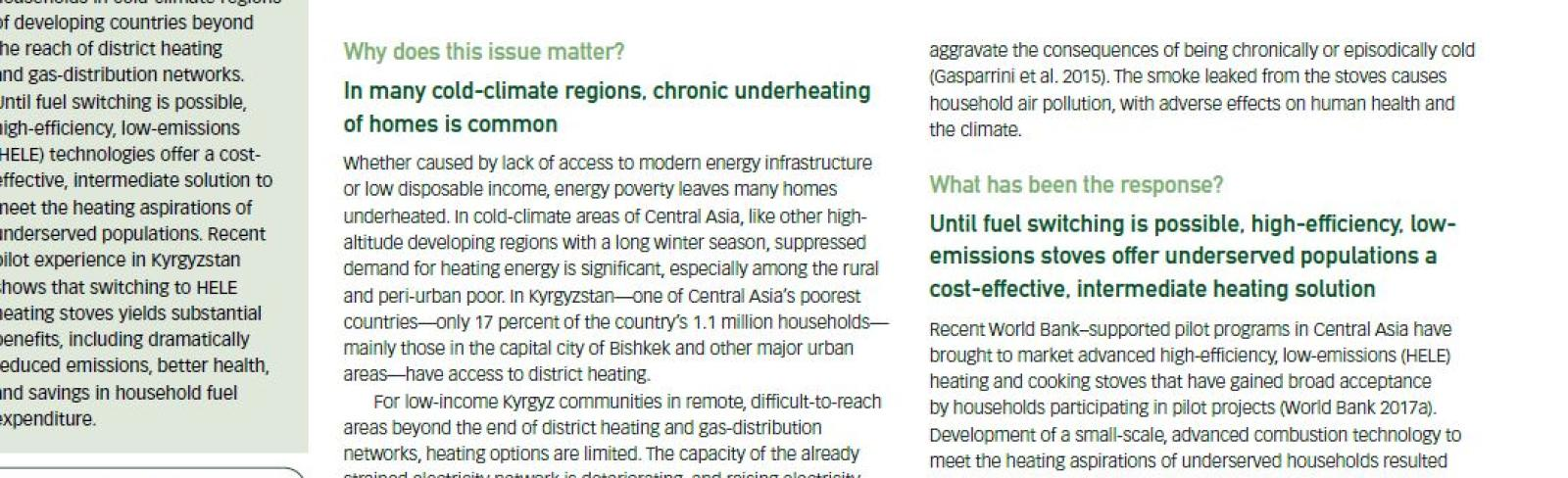 Beyond the Last Mile: Piloting High-Efficiency, Low-Emissions Heating Technologies in Central Asia