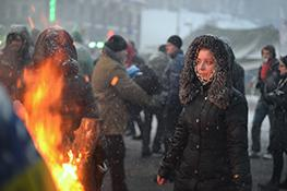 Woman on street in Ukraine