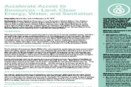 Accelerate Access to Resources – Land, Clean Energy, Water, and Sanitation