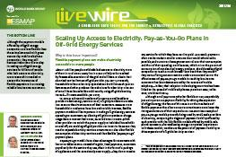 Scaling Up Access to Electricity : Pay-as-You-Go Plans in Off-Grid Energy Services