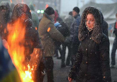 Ukraine, woman on street